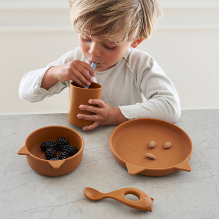 Liewood® Set pappa in silicone  Cyrus Junior Cat Mustard