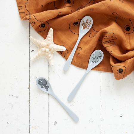 Done by Deer® Set di 3 cucchiaini Sea friends Grey