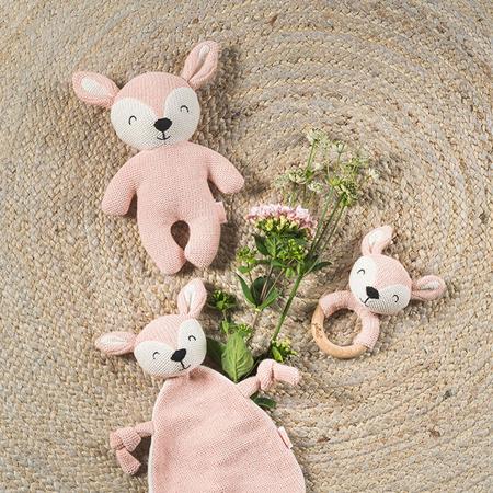 Immagine di Jollein® Doudou e porta ciuccio Deer Pale Pink