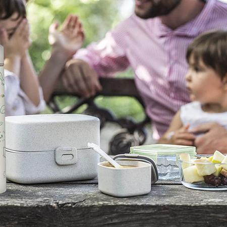 Immagine di Miniland® Set di  due contenitori e una borsa termica 160ml Natur Square Bunny
