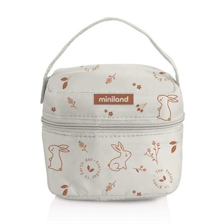 Miniland® Set di  due contenitori e una borsa termica 160ml Natur Square Bunny