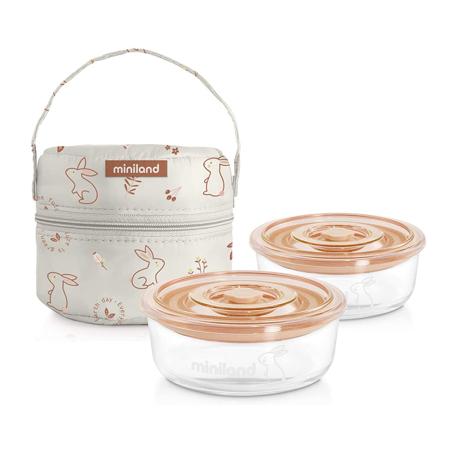 Immagine di Miniland® Set di  due contenitori e una borsa termica 200ml Natur Round Bunny