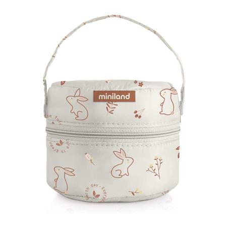 Miniland® Set di  due contenitori e una borsa termica 200ml Natur Round Bunny