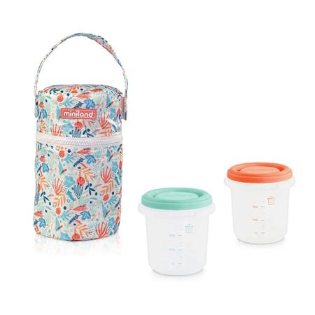 Immagine di Miniland® Set 2 contenitori con borsa thermos 250ml Mediterra
