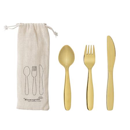 Immagine di Bloomingville® Posate per bambini in acciaio inossidabile  Gold