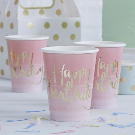 Ginger Ray® Bicchieri Happy Birthday Ombre Pink 8 pezzi
