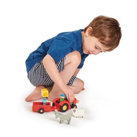 Tender Leaf Toys® Trattore con rimorchio