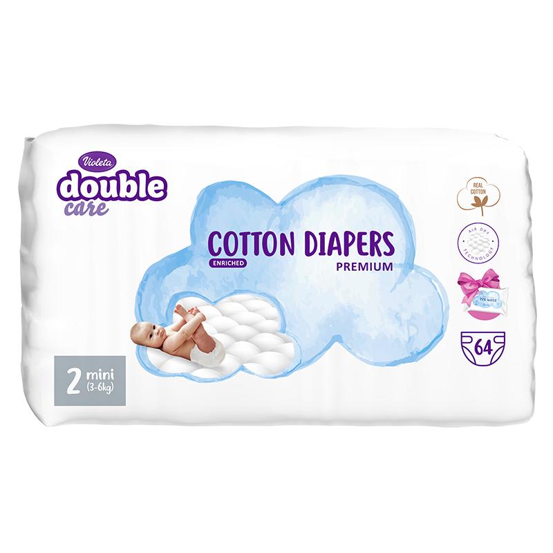 Immagine di Violeta® Pannolini Double Care Cotton Touch 2 Mini (3-6 kg) 64 pz.