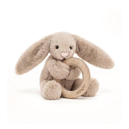 Immagine di Jellycat®  Coniglietto di peluche con anello in legno Bashful Beige 13cm