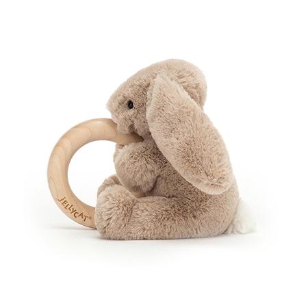 Jellycat®  Coniglietto di peluche con anello in legno Bashful Beige 13cm