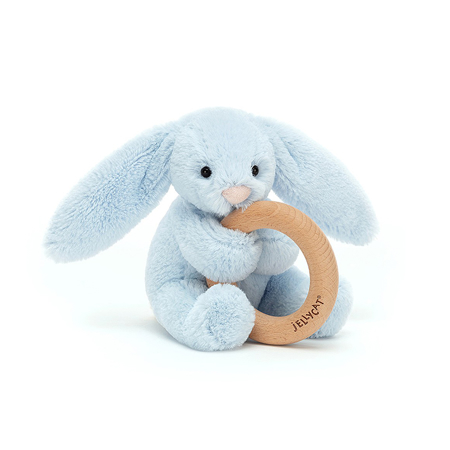 Immagine di Jellycat®  Coniglietto di peluche con anello in legno Bashful Blue 13cm