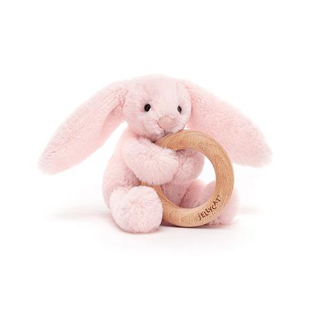 Immagine di Jellycat®  Coniglietto di peluche con anello in legno Bashful Pink 13cm