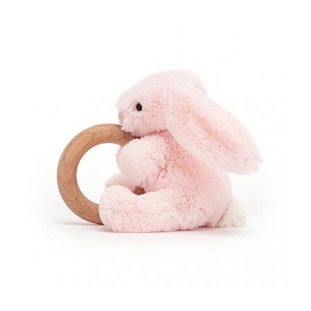 Jellycat®  Coniglietto di peluche con anello in legno Bashful Pink 13cm