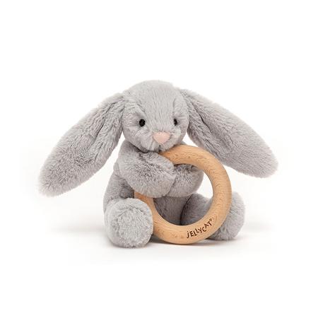 Immagine di Jellycat®  Coniglietto di peluche con anello in legno Bashful Silver 13cm