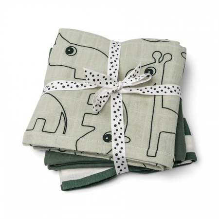 Immagine di Done by Deer®  Set di 3 pannolini Deer friends Green 70x70