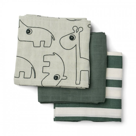 Done by Deer®  Set di 3 pannolini Deer friends Green 70x70