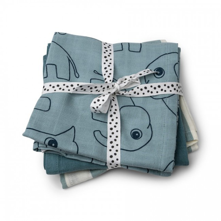 Immagine di Done by Deer®  Set di 3 pannolini Deer friends Blue 70x70