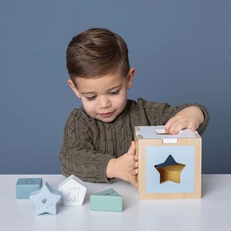 Little Dutch® Cubo didattico per lo smistamento delle forme Zoo Blue