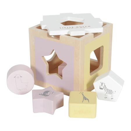 Immagine di Little Dutch® Cubo didattico per lo smistamento delle forme Zoo Pink