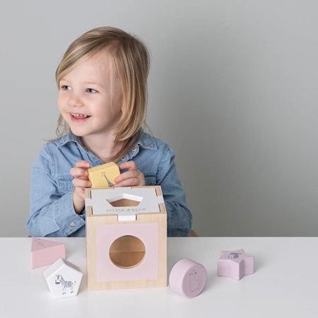 Little Dutch® Cubo didattico per lo smistamento delle forme Zoo Pink