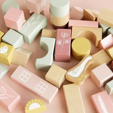 Little Dutch® Cubi da costruzione Little Goose Pink