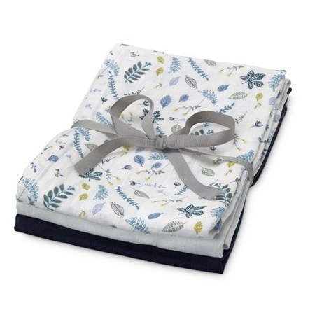 Immagine di CamCam® Teli per fasciare Mix Pressed Leaves Blue, Baby Blue, Navy 70x70 3 pezzi