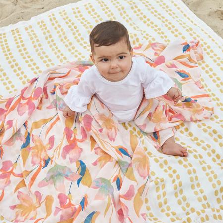 Immagine di Aden+Anais® Telo di mussola di cotone Marine Gardens 120x120