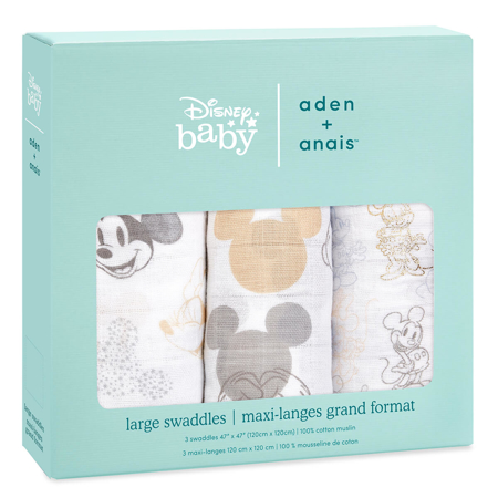 Aden+Anais® Set di 3 teli in mussola Mickey + Minnie 120x120