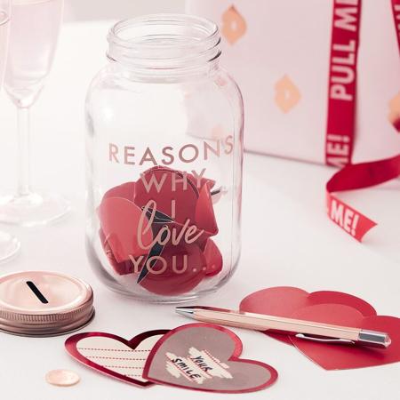 Immagine di Ginger Ray® Vaso con cartoncini di cuore Reasons Why I Love you