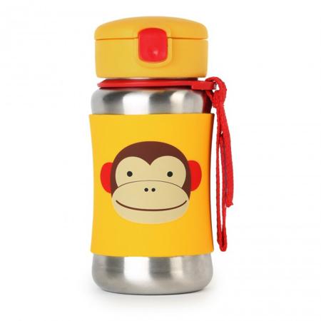 Immagine di Skip Hop® Borraccia in acciaio inossidabile con cannuccia Monkey