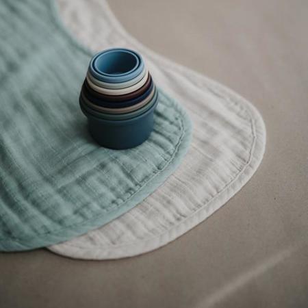 Mushie® Set di due mussole Roman Green/Fog
