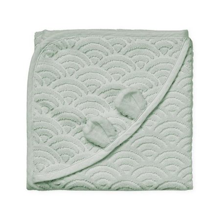 Immagine di  CamCam® Asciugamano con cappuccio e orecchie GOTS Dusty Green 80x80