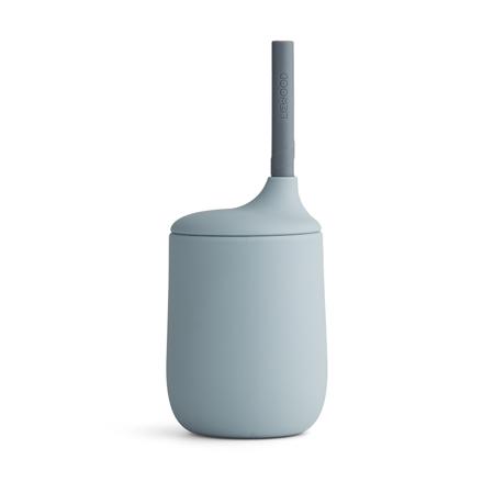 Immagine di Liewood® Bicchiere in silicone con cannuccia Ellis Sea Blue/Blue Wave Mix