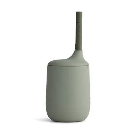 Immagine di Liewood® Bicchiere in silicone con cannuccia Ellis Faune Green/Hunter Green Mix