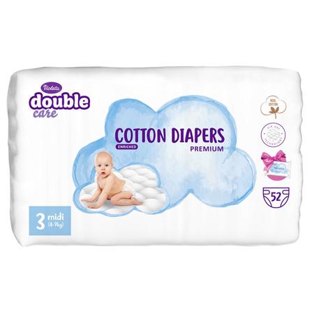 Immagine di Violeta® Pannolini Double Care Cotton Touch Midi (4-9 kg) 52 pz.+Salviettine umidificate Water Care in omaggio