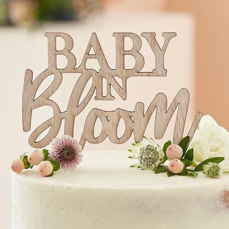 Immagine di Ginger Ray® Iscrizione decorativa in legno per la torta Baby in Bloom