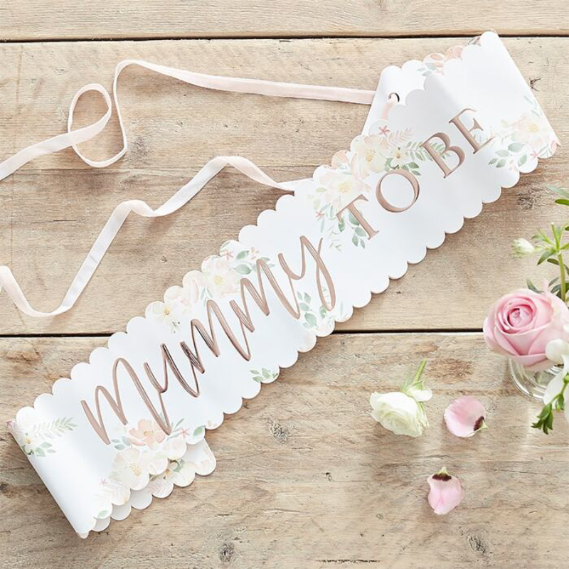 Immagine di Ginger Ray® Nastro Floral Rose Gold Mummy to Be