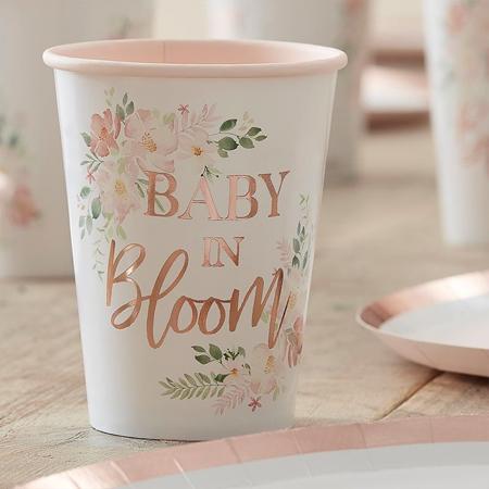 Immagine di Ginger Ray® Bicchieri di carta Baby in Bloom 8 pezzi