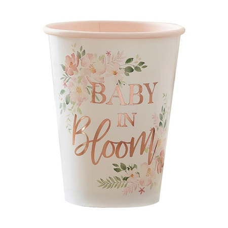 Ginger Ray® Bicchieri di carta Baby in Bloom 8 pezzi