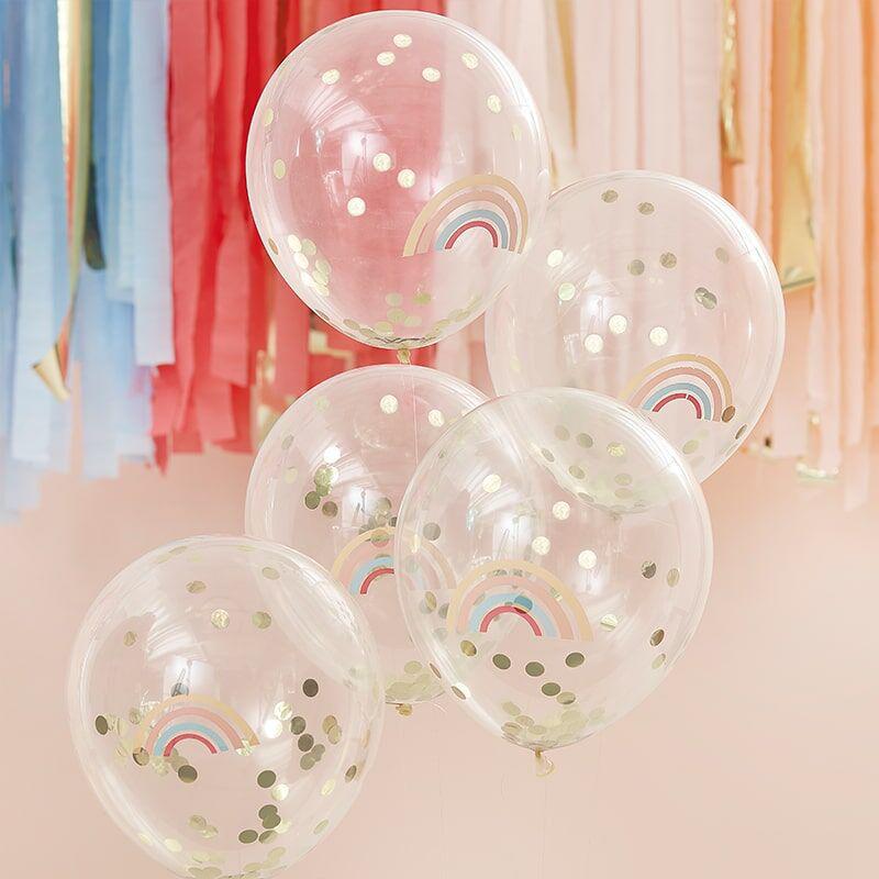 Immagine di Ginger Ray® Palloncini con coriandoli Rainbow Gold 5 kosov