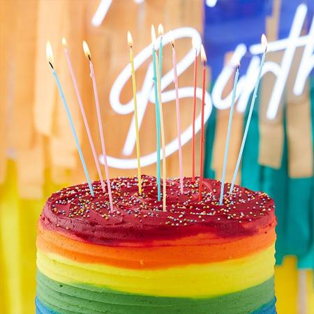 Immagine di Ginger Ray® Candele torta alte  Mix It Up Multi Coloured 12 pz.