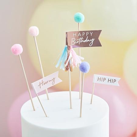 Immagine di Ginger Ray® Decorazioni per dolci Mix It Up Happy Birthday Pom Poms  Pastel 12 pezzi