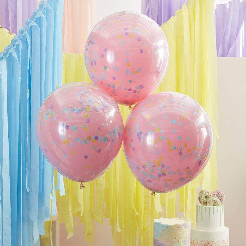 Immagine di Ginger Ray® Palloncini con coriandoli Double Stuffed Pastel