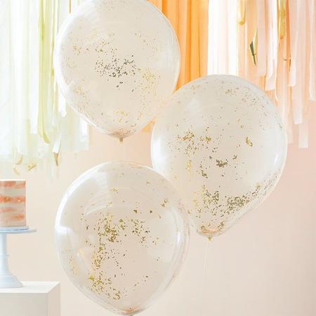 Immagine di Ginger Ray® Palloncini con coriandoli Double Stuffed Peach Gold