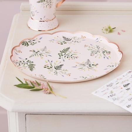 Immagine di Ginger Ray® Piatti di carta Floral 8 pezzi