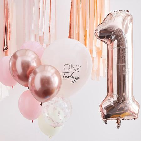 Immagine di Ginger Ray® Palloncini per festeggiare il 1 ° compleanno Mix It Up Pink Rose Gold