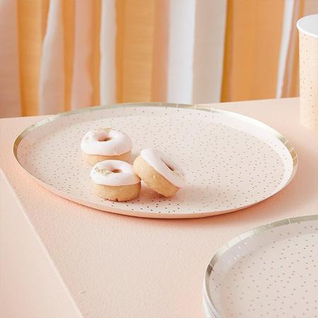 Immagine di Ginger Ray®  Piatti Peach Gold Happy Birthday 8 pezzi