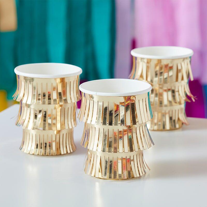 Immagine di Ginger Ray® Bicchieri di carta Fringe  Gold 8 pezzi