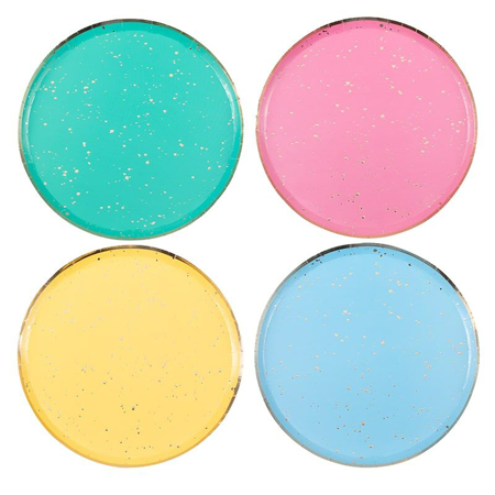 Ginger Ray® Piatti di carta Mix It Up Flecked Rainbow 8 pz.