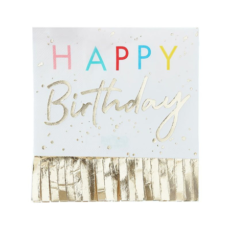 Ginger Ray® Tovaglioli di carta Happy Birthday Mix It Up Fringed Gold  16 pezzi